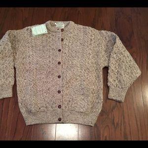 Cladyknit tan Irish Fisherman knit cardigan L